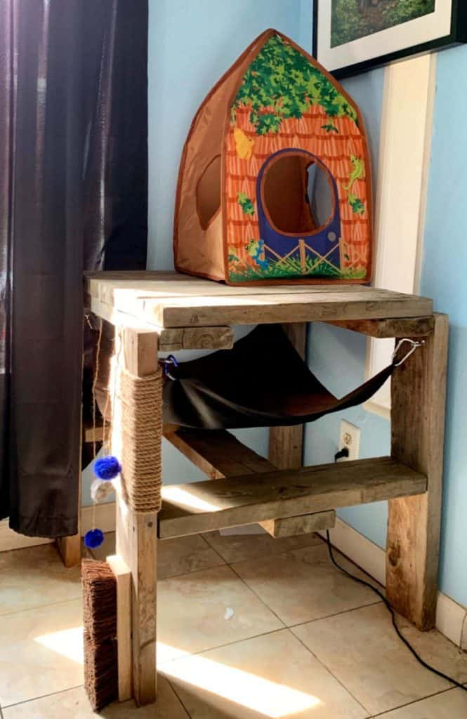 wood table cat play station