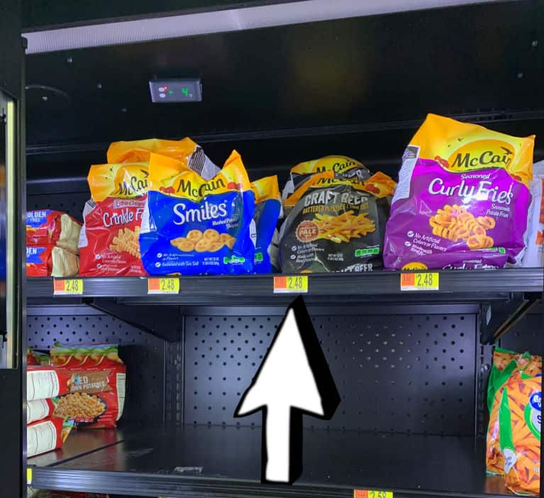 mcain fries in freezer at Walmart