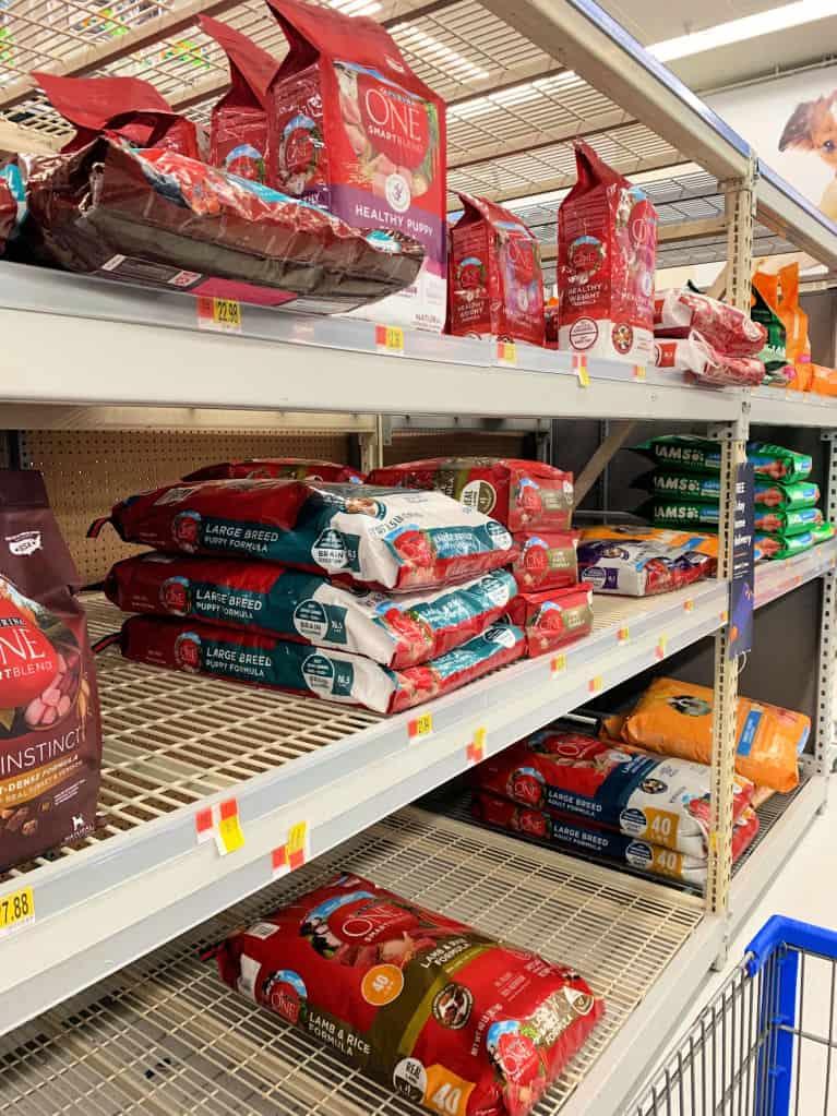 dog food on shelf at walmart