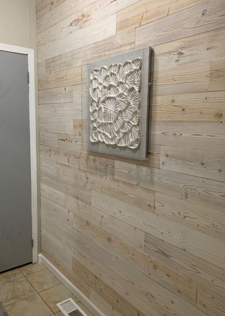 wood plank faux shiplap wall