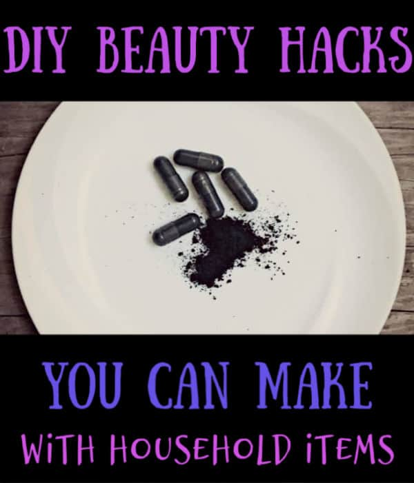 charcoal pills on a white plate. DIY beauty hacks graphic.