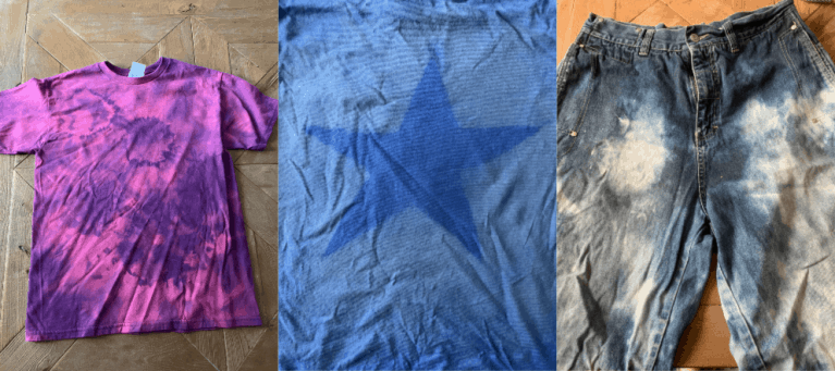 3 different reverse tie dye techniques