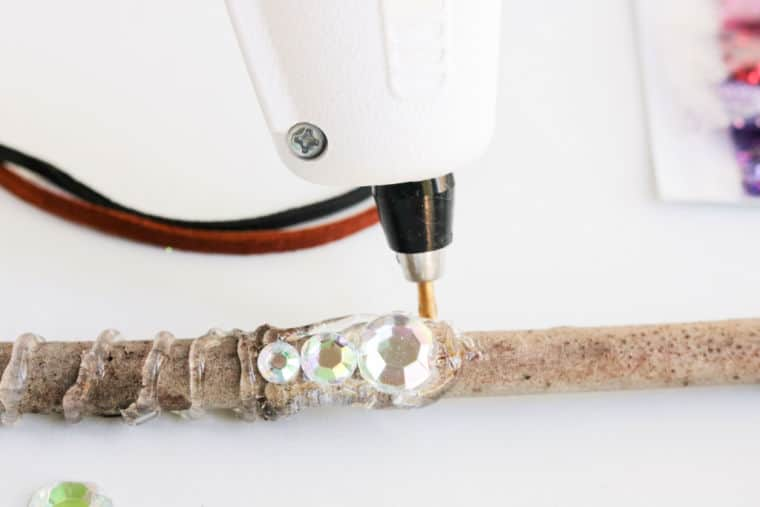 Glue on stick with gem for magic wand