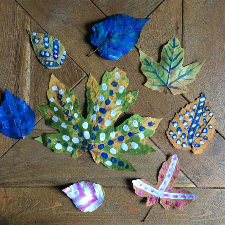 dried leaf art painted leaves