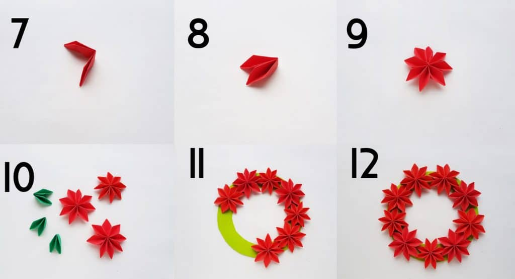 origami poinsettia steps