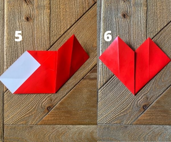 steps 5 and 6 for origami heart.