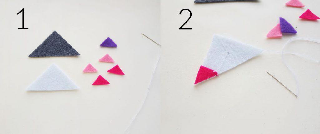 Step by step photos for felt bookmark.
